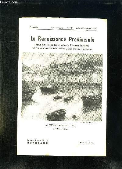 LA RENAISSANCE PROVINCIALE N° 115 AOUT SEPTEMBRE OCTOBRE 1956. LE PORT DE SAINT JEAN DE LUZ...