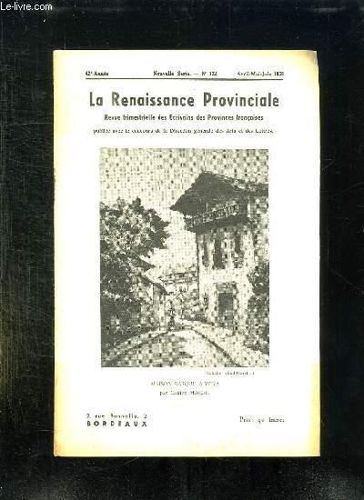 LA RENAISSANCE PROVINCIALE N° 122 AVRIL MAI JUIN 1958 MAISON BASQUE A YERA...