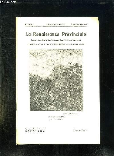 LA RENAISSANCE PROVINCIALE N° 123 JUILLET AOUT SEPTEMBRE 1958. CHASSE A COURRE PAR CARLE VERNET.