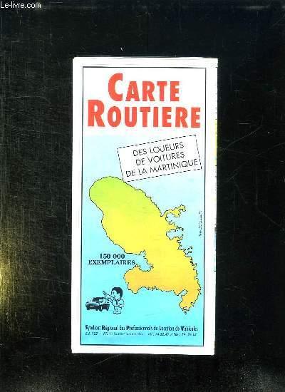 CARTE ROUTIERE DES LOUEURS DE VOITURES DE LA MARTINIQUE.