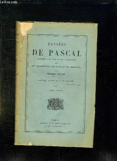 PENSEES DE PASCAL. TOME 2.