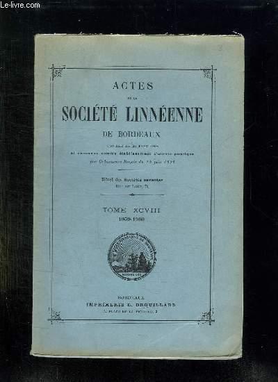 ACTES DE LA SOCIETE LINNEENNE DE BORDEAUX. TOME XCVIII: 1959 - 1960.