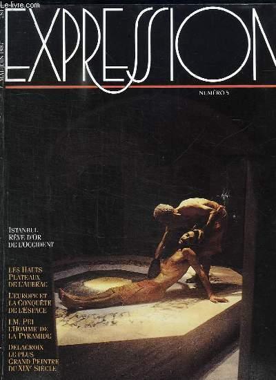 EXPRESSION N° 5. MAI JUIN 1987. SOMMAIRE: ISTANBUL REVE D OR DE L OCCIDENT, LES HAUTS PLATEAUX DE L AUBRAC, L EUROPE ET LA CONQUETE DE L ESPACE, DELACROIX LE PLUS GRAND PEINTRE DU XIX E SIECLE...