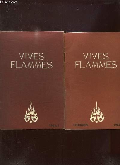 VIVES FLAMMES DU N° 1 A 6 ANNEE 1961. LA FLAMME DU CIERGE, QUE LE PEUPLE DE DIEU SOIT SAINT, GRATITUDE PRIERE ENGAGEMENT, MESSAGE CARMELITAIN, ORAISON ET DETACHEMENT.