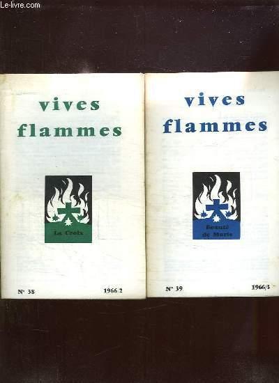 VIVES FLAMMES DU N° 37 AU N° 42 ANNEE 1966. LITURGIE ET PRIERE, LA CROIX,  BEAUTE DE MARIE, PAUVRETE D AME, PEUPLE SAINT,  SE DONNER.