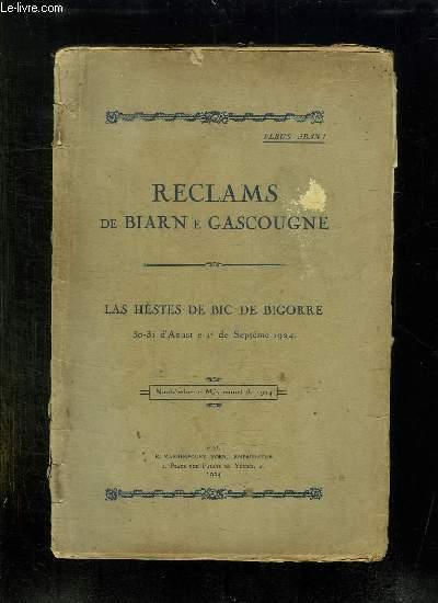 RECLAMS DE BIARN E GASCOUGNE. LAS HESTES DE BIC DE BIGORRE. 30 - 31 AOUST E 1 SEPTEME 1924. TEXTE EN GASCON.