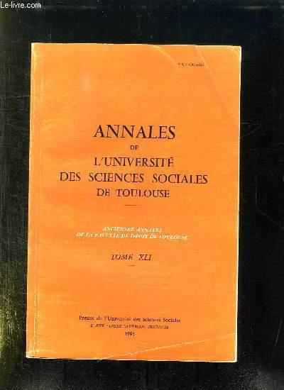 ANNALES DE L UNIVERSITE DES SCIENCES SOCIALES DE TOULOUSE TOME XLI.