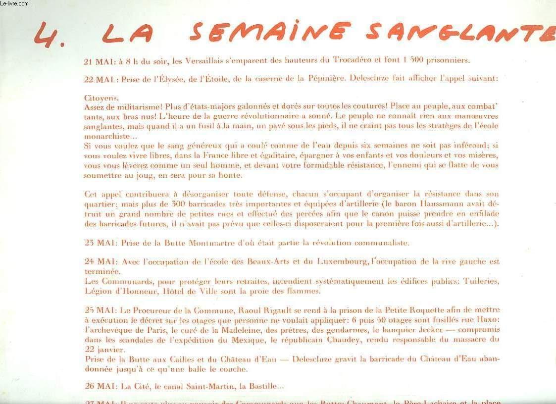 UNE AFFICHE. LA SEMAINE SANGLANTE DU 21 AU 29 MAI 1871 EST L EPISODE FINAL DE LA COMMUNE DE PARIS.