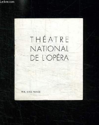 PROGRAMME. THEATRE NATIONAL DE L OPERA.