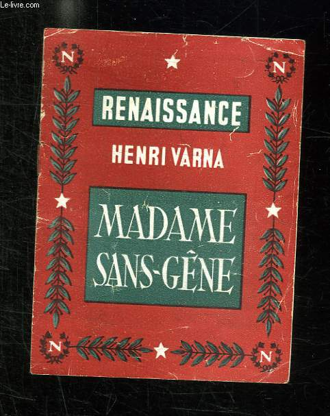 PROGRAMME. MADAME SANS GENE DE HENRI VARNA. RENAISSANCE.