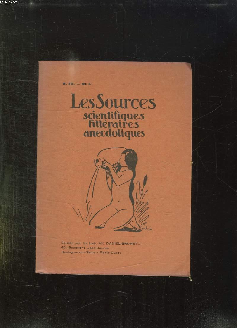 LES SOURCES N° 5 T IX. SCIENTIFIQUES, LITTERAIRES, ANECDOTIQUES.