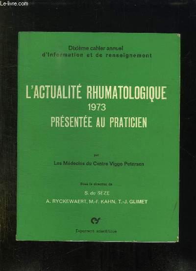 L ACTUALITE RHUMATOLOGIQUE 1973.