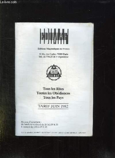 CATALOGUE.TOUS LES RITES . TOUTES DES OBEDIENCES. TOUS LES PAYS JUIN 1982.