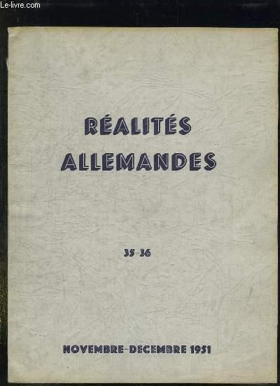 REALITES ALLEMANDES N° 35 - 36. NOVEMBRE DECEMBRE 1951. SOMMAIRE: LA REPUBLIQUE FEDERALE EN QUETE DES SYMBOLE, LA DECONCENTRATION DES USINES DE LA RUHR...