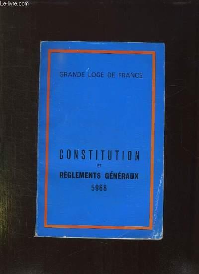 CONSTITUTION ET REGLEMENTS GENERAUX 5968.
