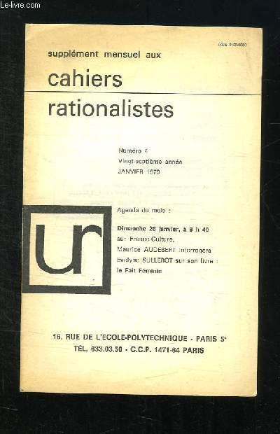SUPPLEMENT DES CAHIERS RATIONALISTES N° 4 JANVIER 1979.