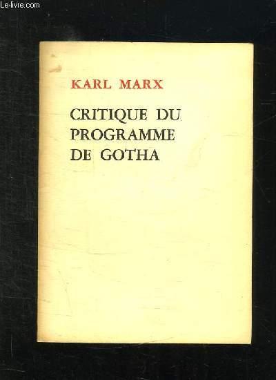 CRITIQUE DU PROGRAMME DE GOTHA.