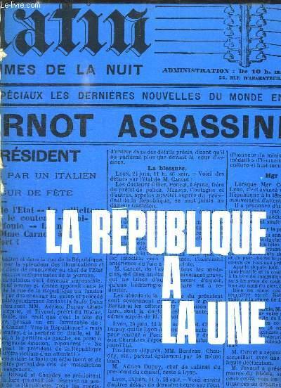 LA REPUBLIQUE A LA UNE. LOT DE 1er PAGES DE JOURNAUX.