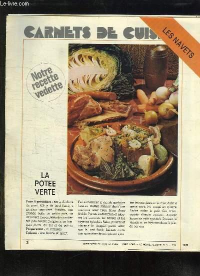 SUPPLEMENT ECHO DE LA MODE. CARNET DE CUISINE. LES NAVETS.
