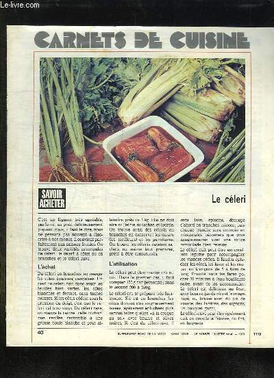 SUPPLEMENT ECHO DE LA MODE. CARNET DE CUISINE. LE CELERI.