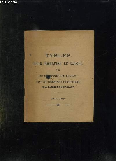 TABLES POUR FACILITER LE CALCUL DES DIFFERENCES DE NIVEAU DANS LES OPERATIONS TOPOGRAPHIQUES. DITES TABLES DE MONTALANT.