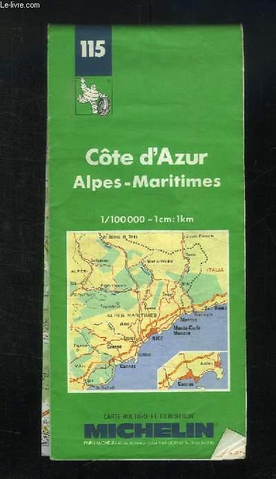 CARTE ROUTIERE ET TOURISTIQUE N°115 . COTE D AZUR ALPES  MARITIMES. 1 / 100000.
