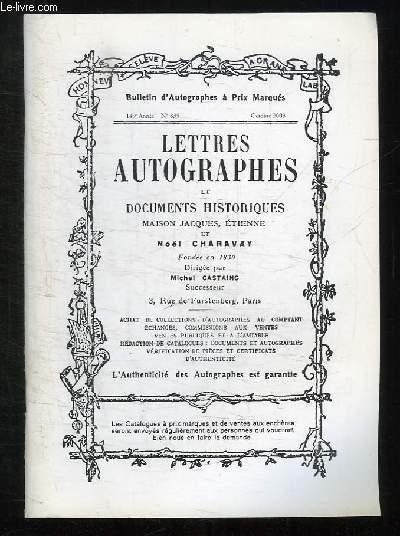 BULLETIN D AUTOGRAPHES A PRIS MARQUES N° 835 OCTOBRE 2003. SOMMAIRE: LETTRES AUTOGRAPHES ET DOCUMENTS HISTORIQUES MAISON JACQUES ETIENNE ET NOEL CHARAVAY.
