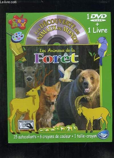 1 DVD VIDEO + 1 LIVRE. A LA DECOUVERTE DES ANIMAUS DU MONDE. LES ANIMAUX DE LA FORET. 1 CAHIER DE COLORIAGE + 1 DVD + 15 AUTOCOLLANTS + 6 CRAYONS DE COULEURS + 1 TAILLE CRAYON.
