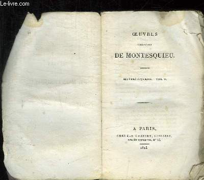 OEUVRES COMPLETES DE MONTESQUIEU TOME II: OEUVRES DIVERSES.