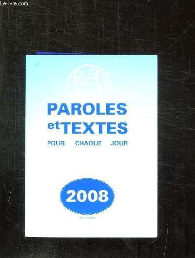 PAROLES ET TEXTES POUR CHAQUE JOUR. 278em ANNEE.
