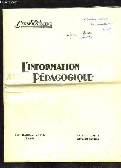 L INFORMATION PEDAGOGIQUE N° 4 SEPTEMBRE OCTOBRE 1949.