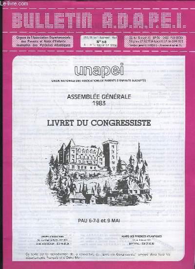 BULLETIN ADAPEI N° 58. ASSEMBLEE GENERALE 1983. LIVRET DU CONGRESSISTE.