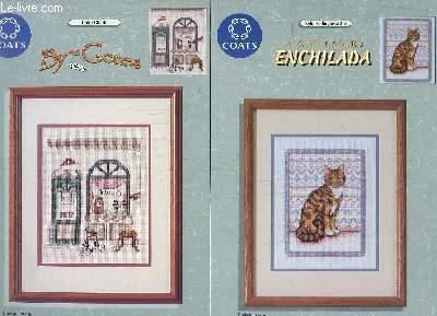 LOT DE 3 PLAQUETTES DE BROCDERIE COLOR CHARTS: BY GONES, A CAT CALLED ENCHILADA,  BLOOMIN BUNNY II. TEXTE EN FRANCAIS , ANGLAIS, ALLEMAND, ESPAGNOL.