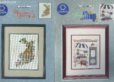 LOT DE 3 PLAQUETTES DE BROCDERIE COLOR CHARTS: FLOWER SHOP, BLOOMIN BUNNY II, A CAT CALLED ENCHILADA. TEXTE EN ANGLAIS, FRANCAIS, ALLEMAND ET ESPAGNOL.
