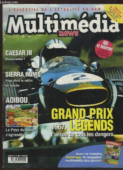 MULTIMEDIA NEWS N° 9 AUTOMNE 98. SOMMAIRE: CAESAR III MONUMENTAL, SIERRA HOME POUR VIVRE LA MICRO EN FAMILLE, ADIBOU, GRAND PRIX LEGENDS...