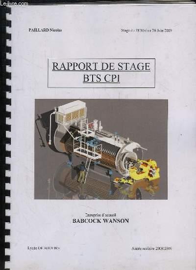RAPPORT DE STAGE BTS CPI. ANNEE 2008 - 2009.