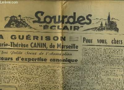 LOURDES ECLAIR N° 104 29 - 30 SEPTEMBRE 1952. LA GUERISON DE M MARIE THERESE CANIN DE MARSEILL, SON EXCELLENCE MGR THEAS A QUITTE LOURDES HIER SOIR...