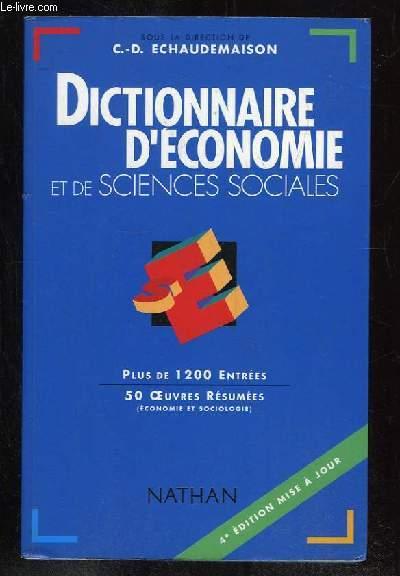 DICTIONNAIRE D ECONOMIE ET DE SCIENCES SOCIALES.