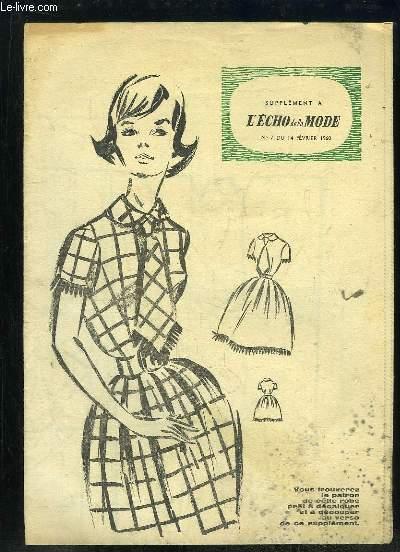 SUPPLEMENT A L ECHO DE LA MODE N° 7 DU 14 FEVRIER 1960.