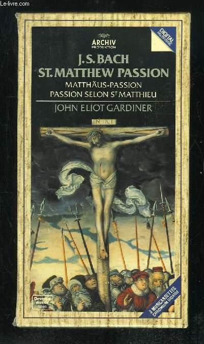 COFFRET DE 3 CASSETTES AUDIO + LIVRET. JS BACH ST MATTHEW PASSION. JOHN ELIOT GARDINER.