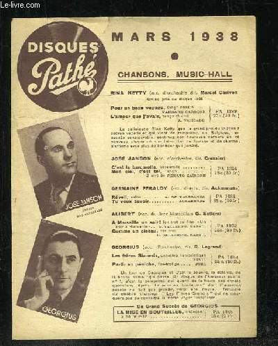 PLAQUETTE. DISQUES PATHE MARS 1938. CHANSOSN MUSIC HALL.