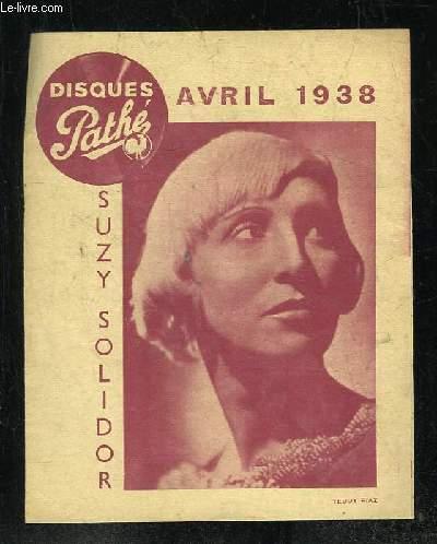 PLAQUETTE. DISQUES PATHE AVRIL 1938.
