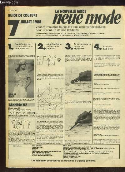 LA NOUVELLE MODE NEUE MODE GUIDE DE COUTURE  DU 7 JUILLET 1988.