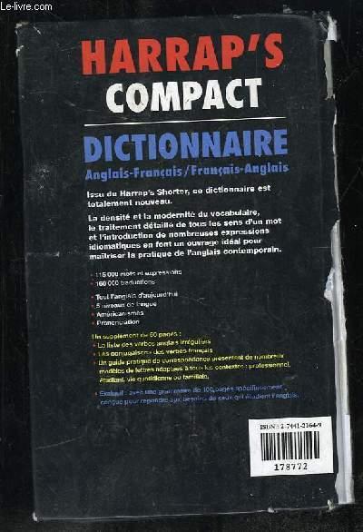 HARRAP S COMPACT. DICTIONNAIRE ANGLAIS FRANCAIS / FRANCAIS ANGLAIS.