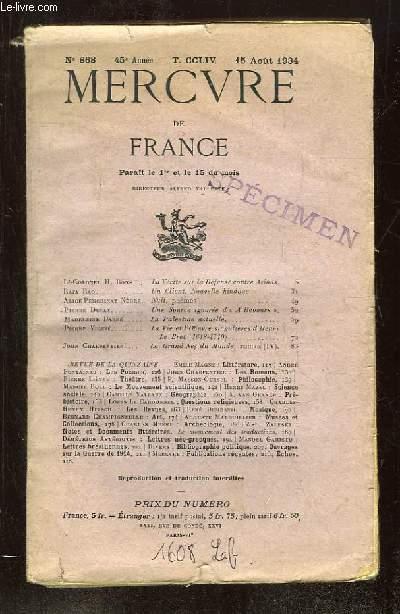 MERCURE DE FRANCE TOME CCLIV DU 15 AOUT AU 15 SEPTEMBRE 1934. SPECIMEN.