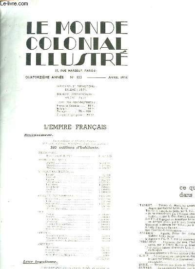 LE MONDE COLONIALE ILLUSTRE N° 153 AVRIL 1936. SOMMAIRE: TUNISIE, ALGERIE, INDOCHINE, SYRIE, SAHARA, HAITI...