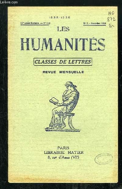LES HUMANITES N° 2 NOVEMBRE 1935. CLASSES DE LETTRES REVUE MENSUELLE.