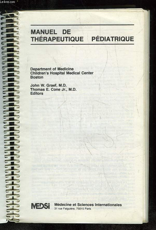 MANUEL DE THERAPEUTIQUE PEDIATRIQUE.