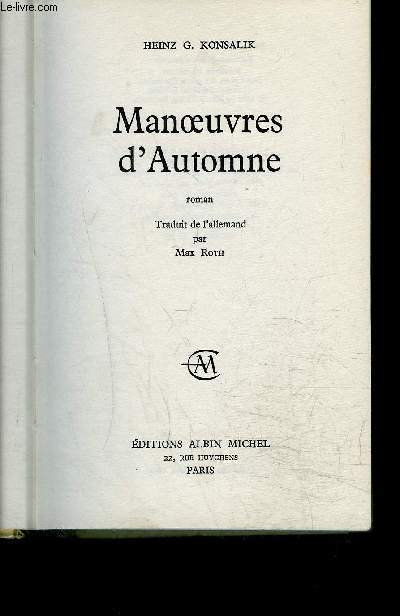MANOEUVRES D AUTOMNE