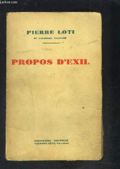 PROPOS D EXIL